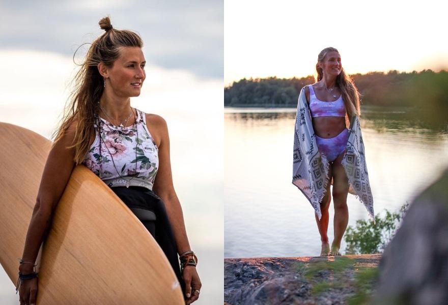 Vågsurf och friluftsliv, sjö, bikini, Camilla Johansson